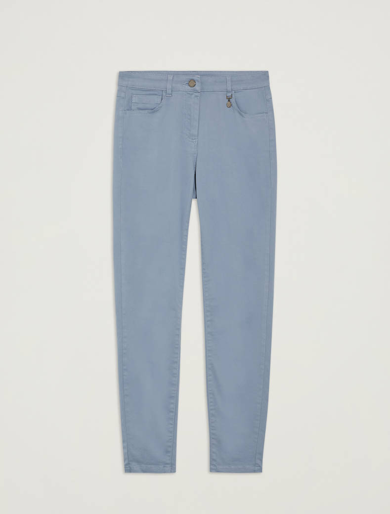 Skinny cotton satin trousers - light blue - pennyblack