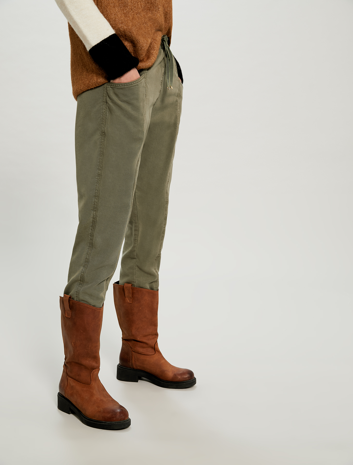 Flowing drawstring trousers - khaki green - pennyblack