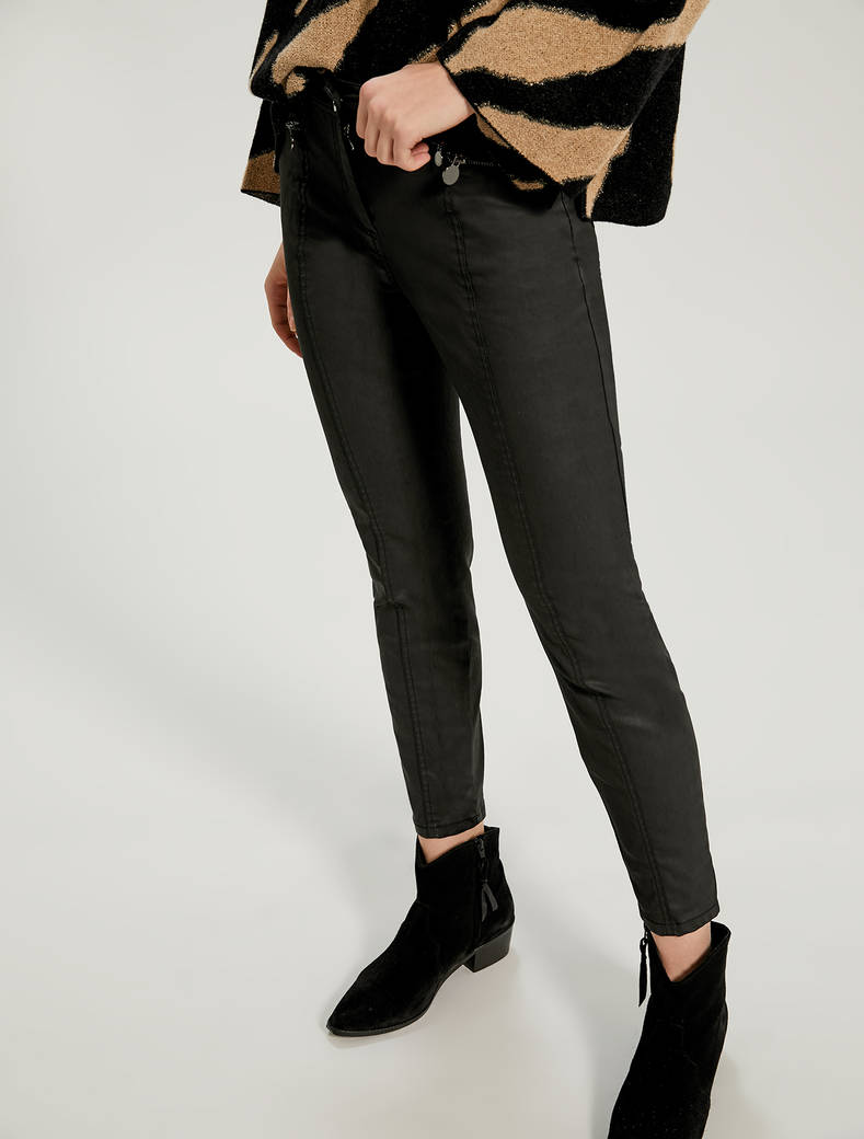 Skinny coated satin trousers - black - pennyblack