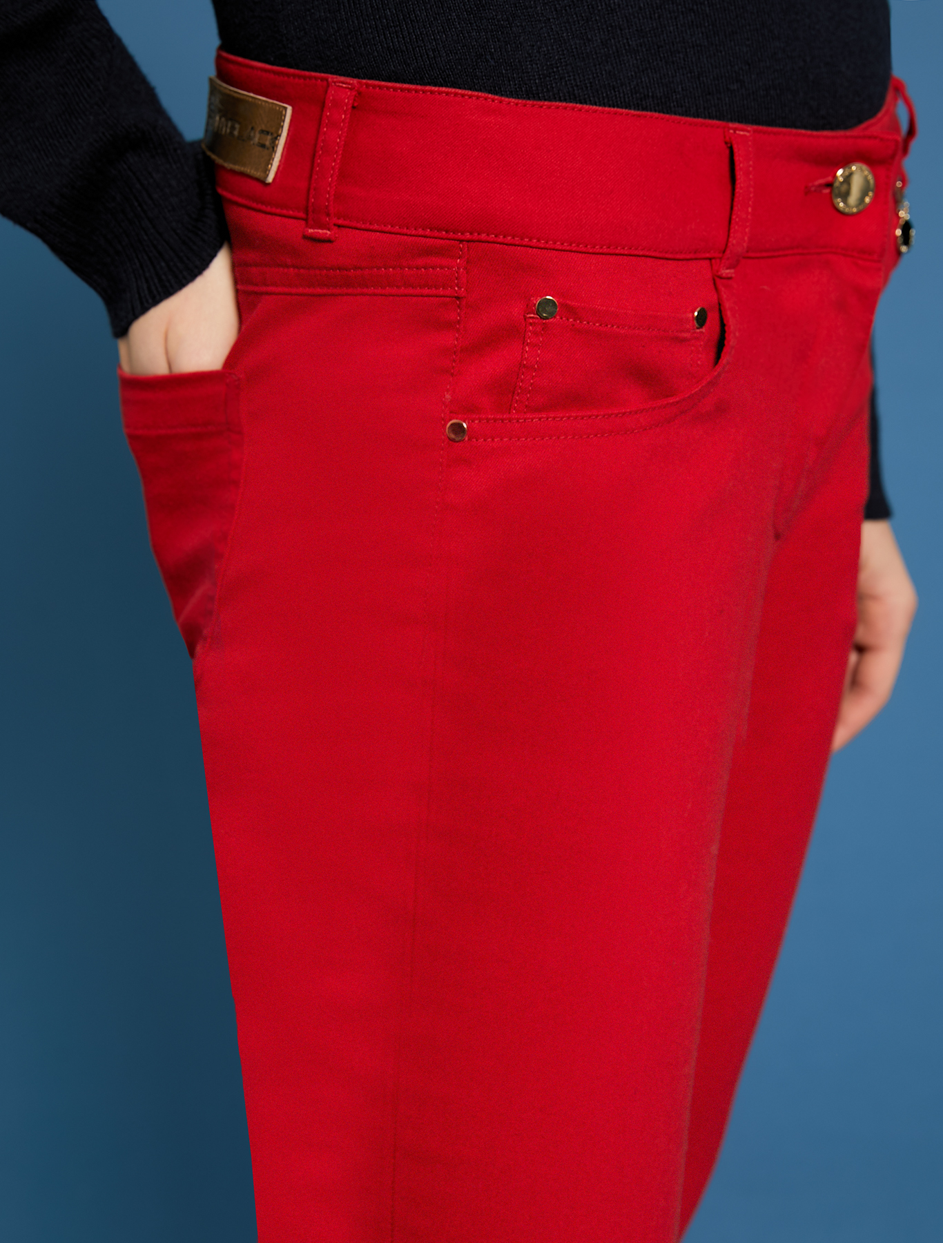 Pantaloni skinny in gabardine - rosso - pennyblack
