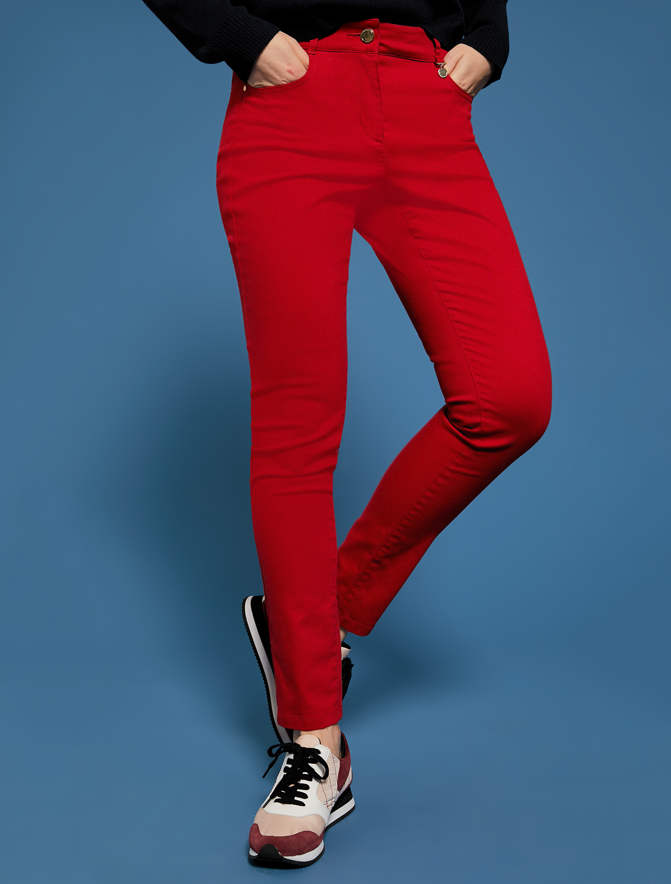 Skinny gabardine trousers - red - pennyblack