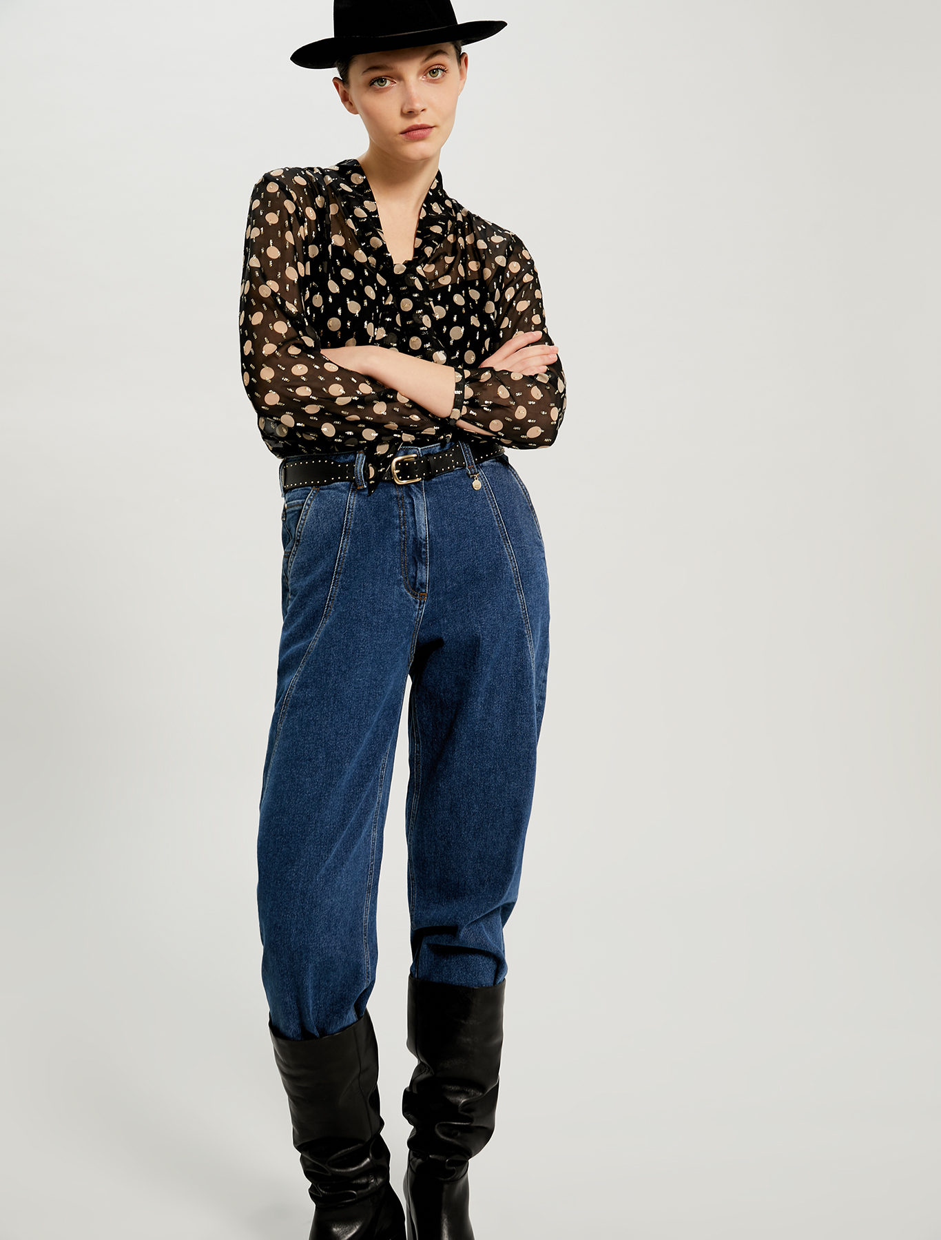 Stone-washed barrel-leg jeans - midnight blue - pennyblack