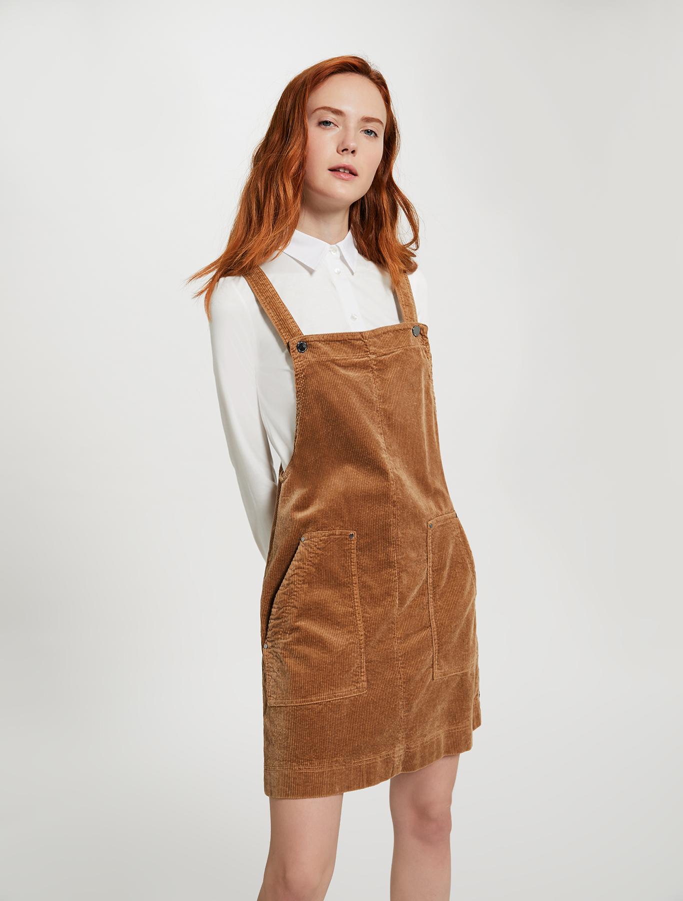 Velvet pinafore dress - beige - pennyblack
