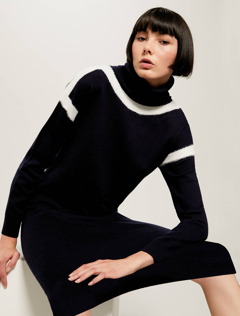 Knit dress with intarsia - navy blue - pennyblack