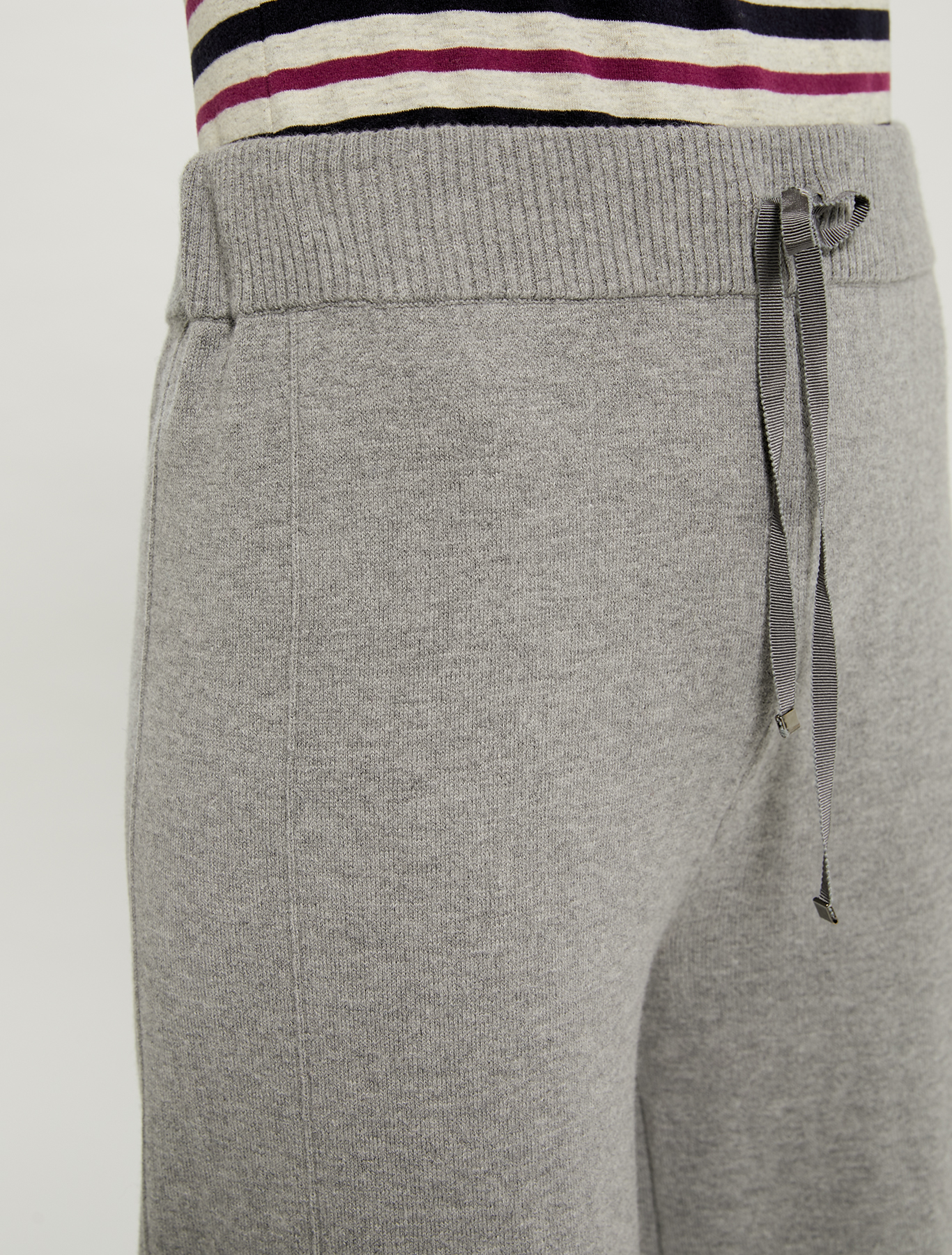 Knit trousers with drawstring - medium grey - pennyblack