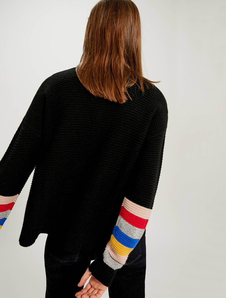 Striped cardigan with lamé - black pattern - pennyblack