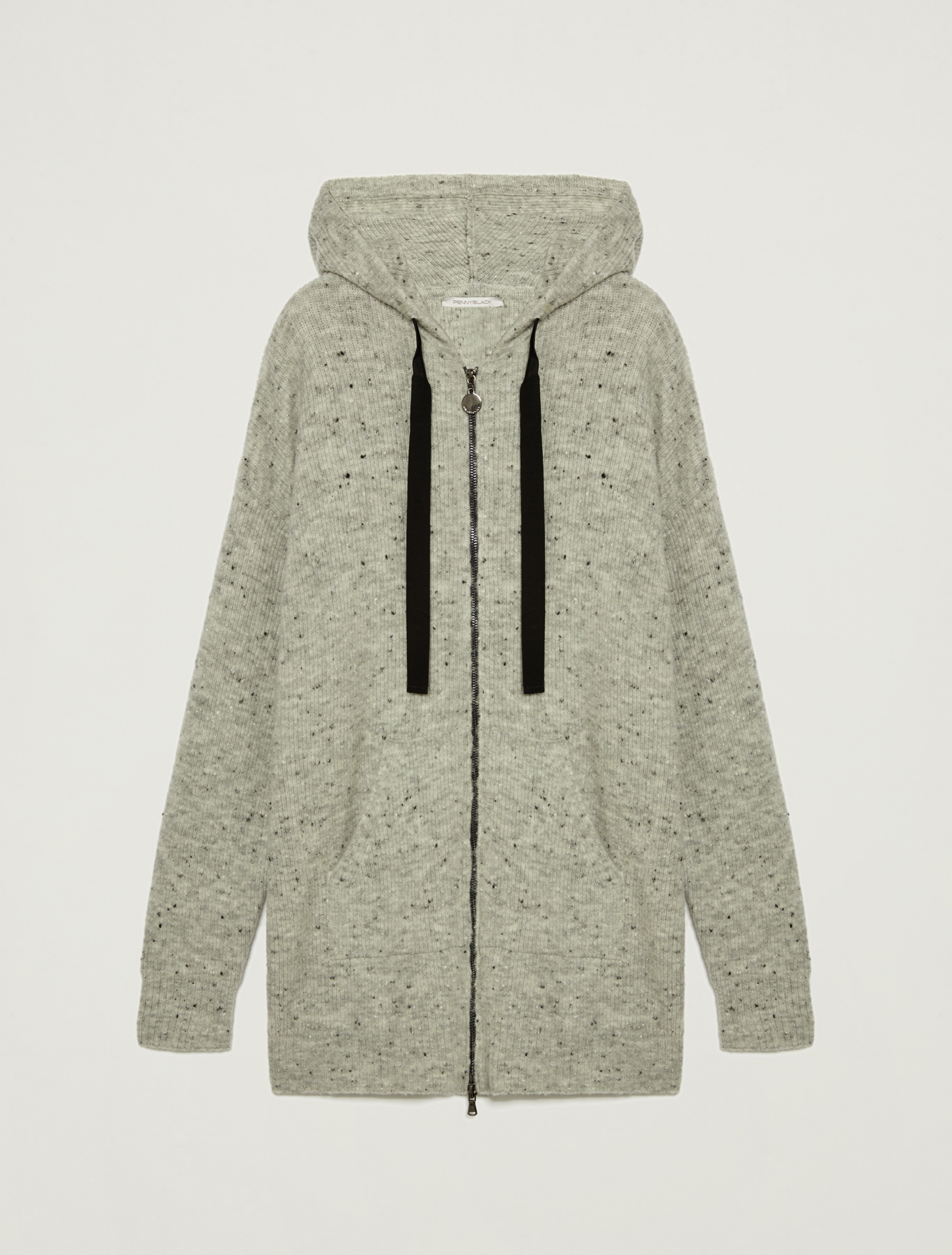 Hooded tweed cardigan - light grey - pennyblack