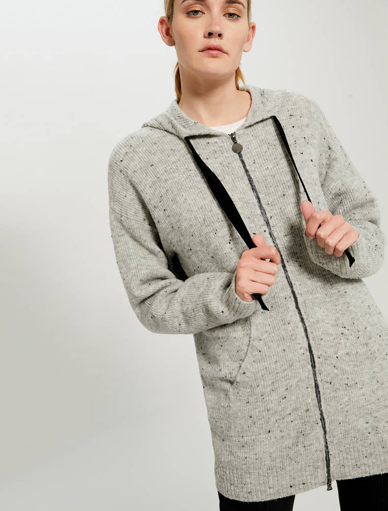 Hooded tweed cardigan - light grey - pennyblack