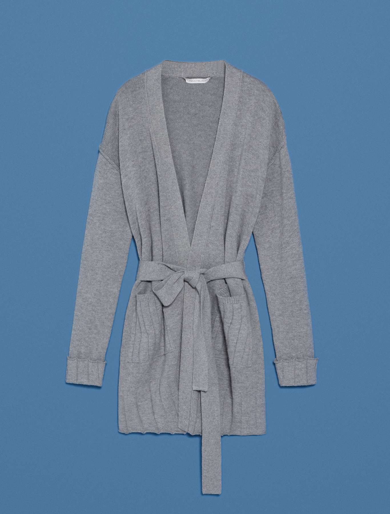 Cardigan with ribbed details - medium grey - pennyblack