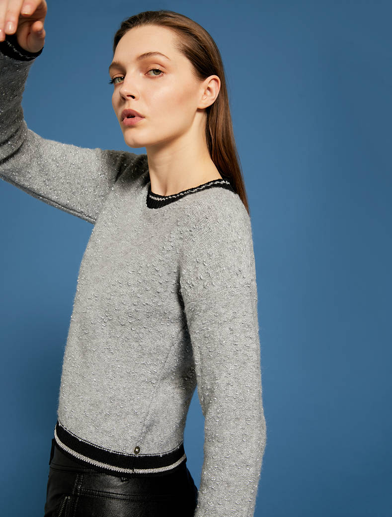 Lamé jumper with striped trim - dark grey - pennyblack