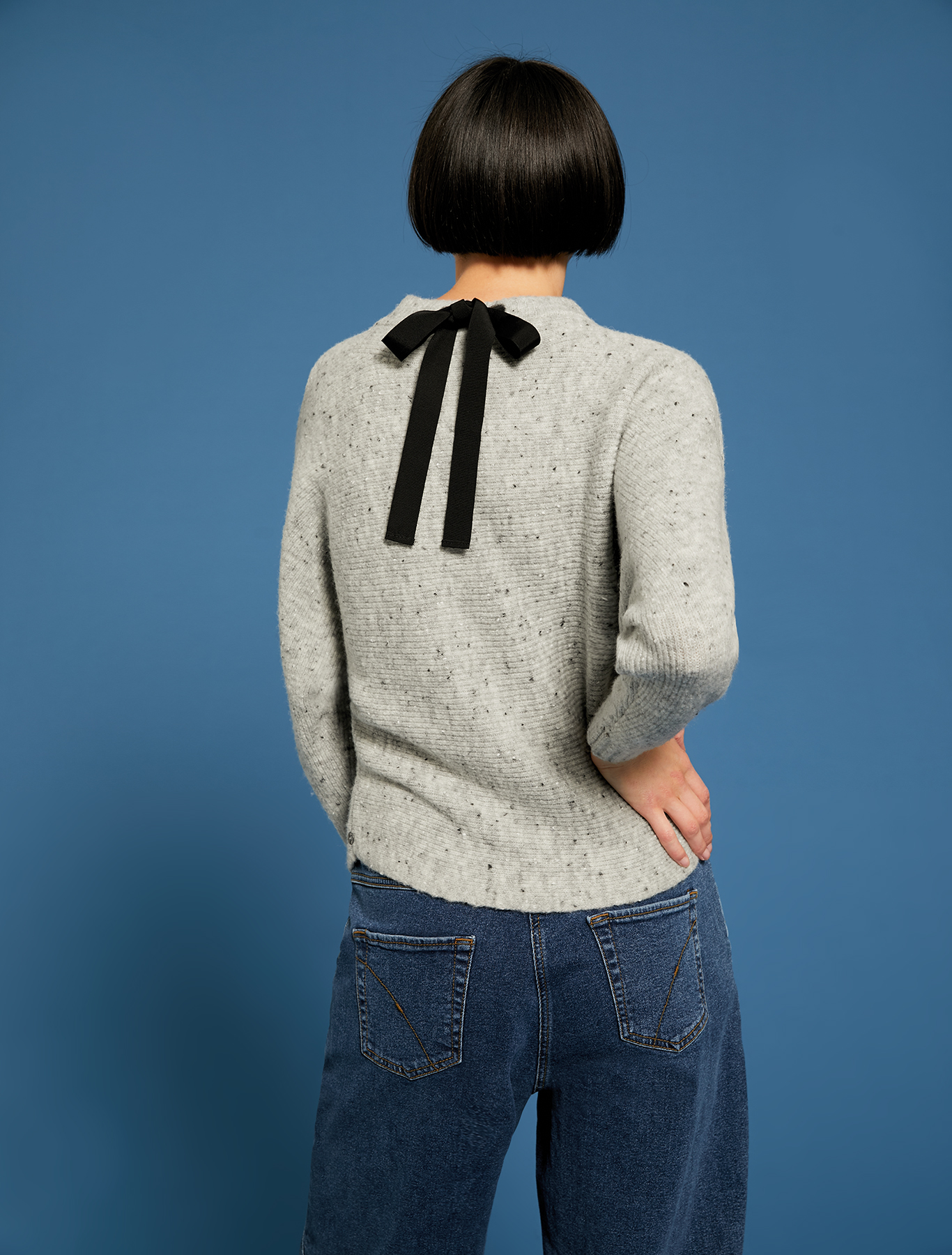 Tweed jumper with bow - light grey - pennyblack