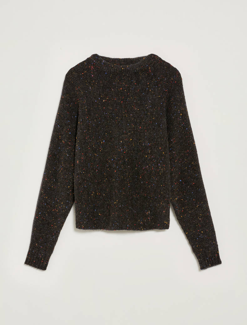 Tweed jumper with bow - black - pennyblack
