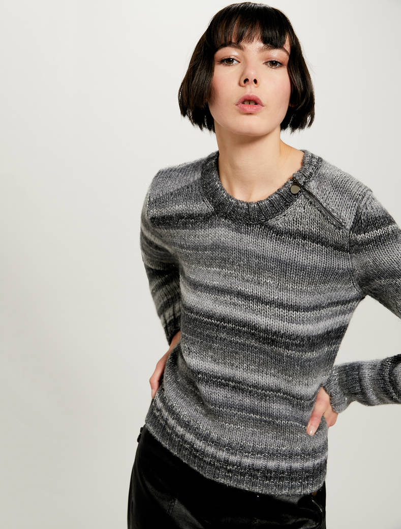 Shaded striped jumper with lamé - light grey - pennyblack