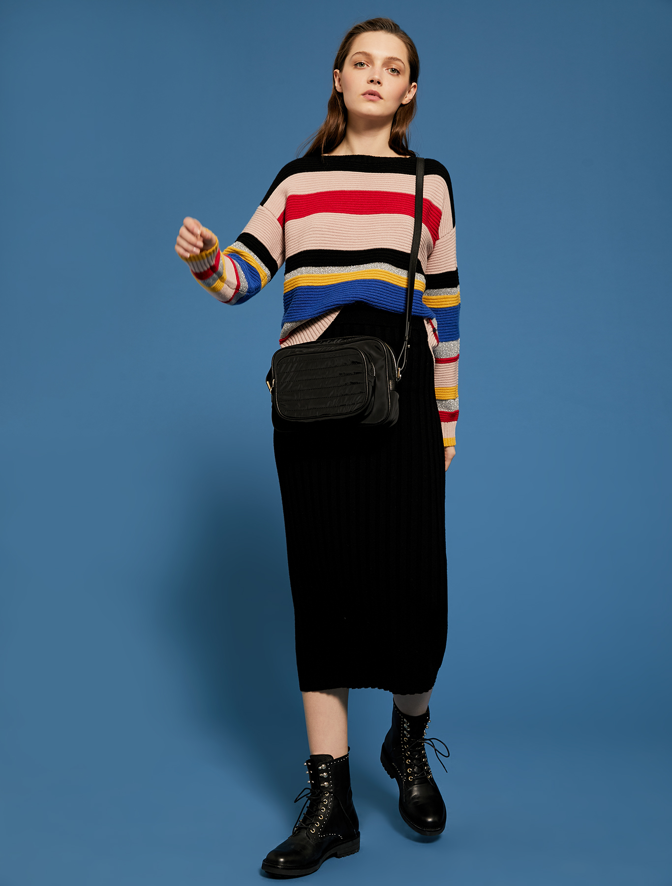 Striped jumper with lamé - pink - pennyblack