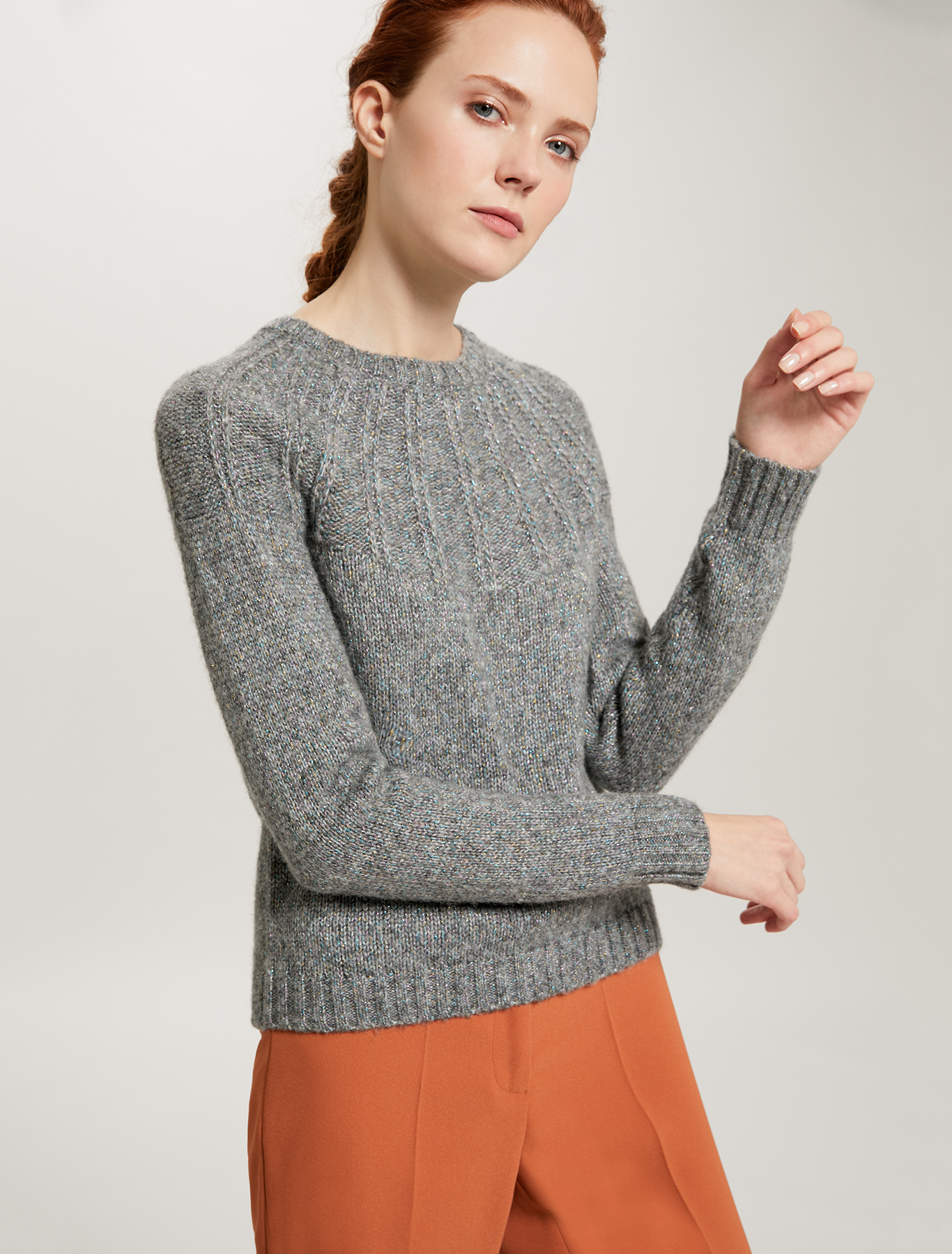 Lamé jumper with ribbed yoke - light grey - pennyblack
