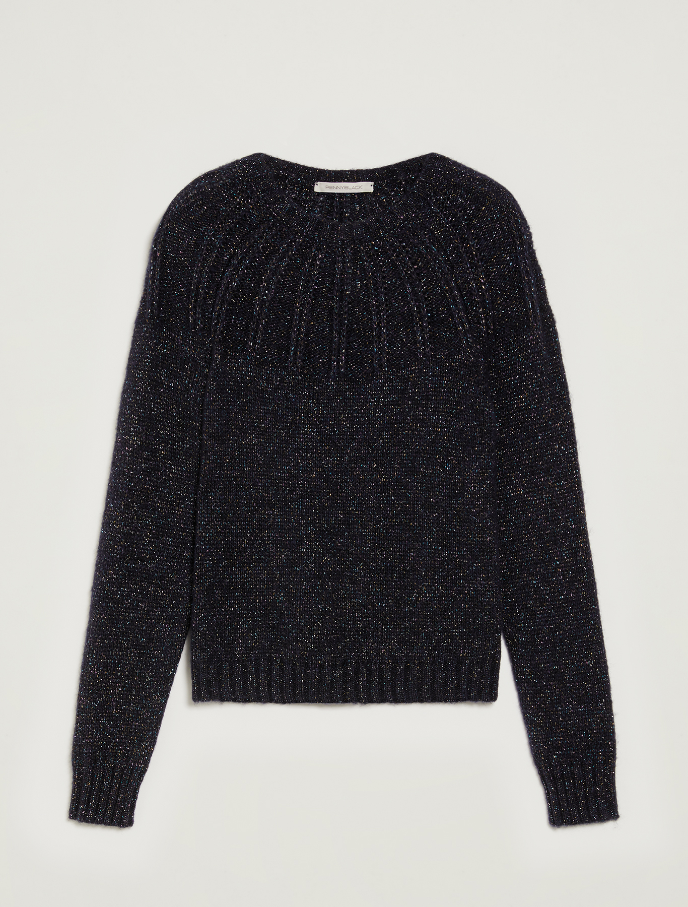 Lamé jumper with ribbed yoke - navy blue - pennyblack
