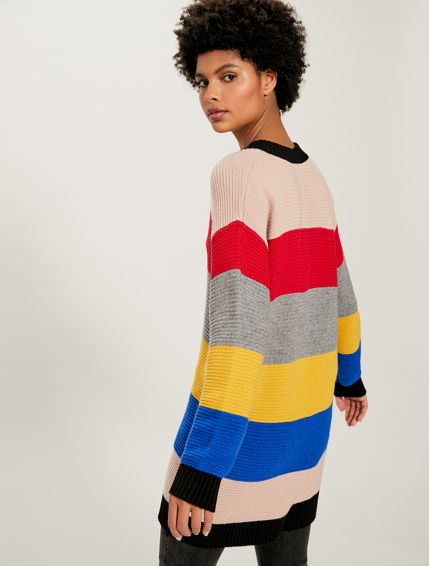 Jumper with large multicolour stripes - black pattern - pennyblack