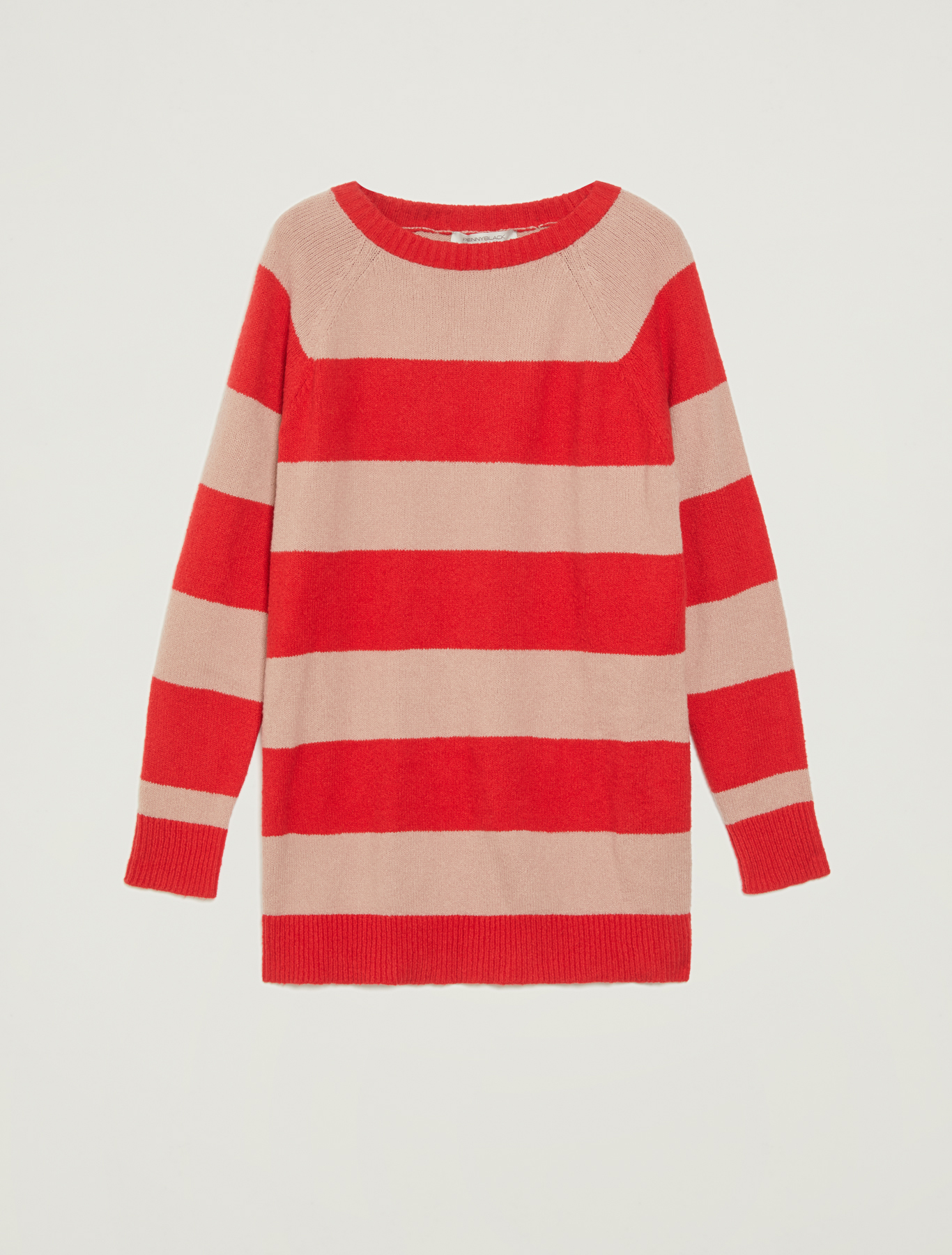 Jumper with maxi stripes and slits - red - pennyblack