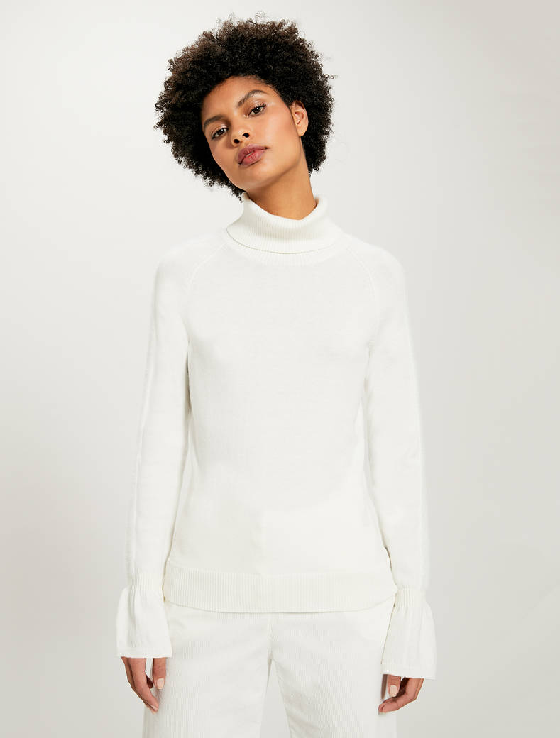 Turtleneck with inlaid stripes - white - pennyblack