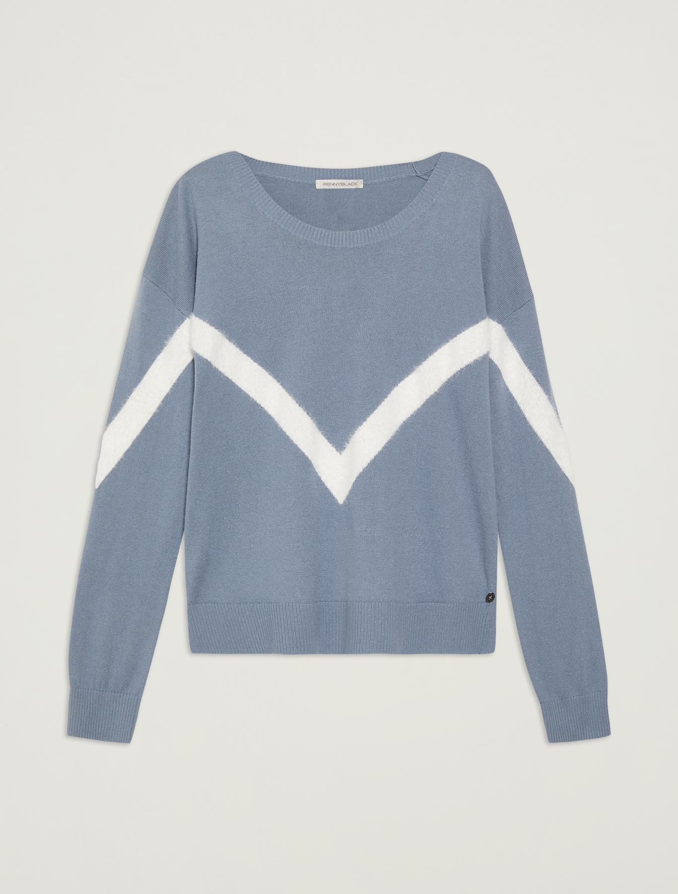Sweater with geometric inlay - light blue - pennyblack