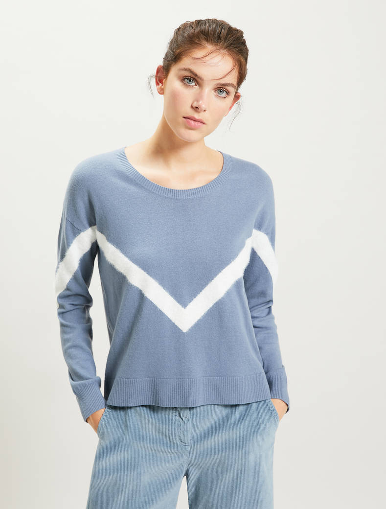 Sweater with geometric inlay - light blue - pennyblack