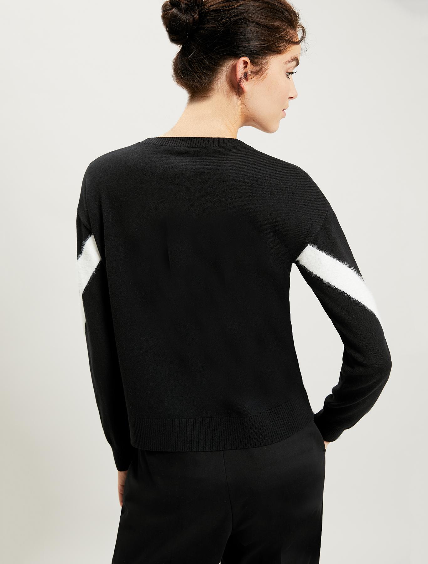 Maglia con intarsio geometrico - nero - pennyblack