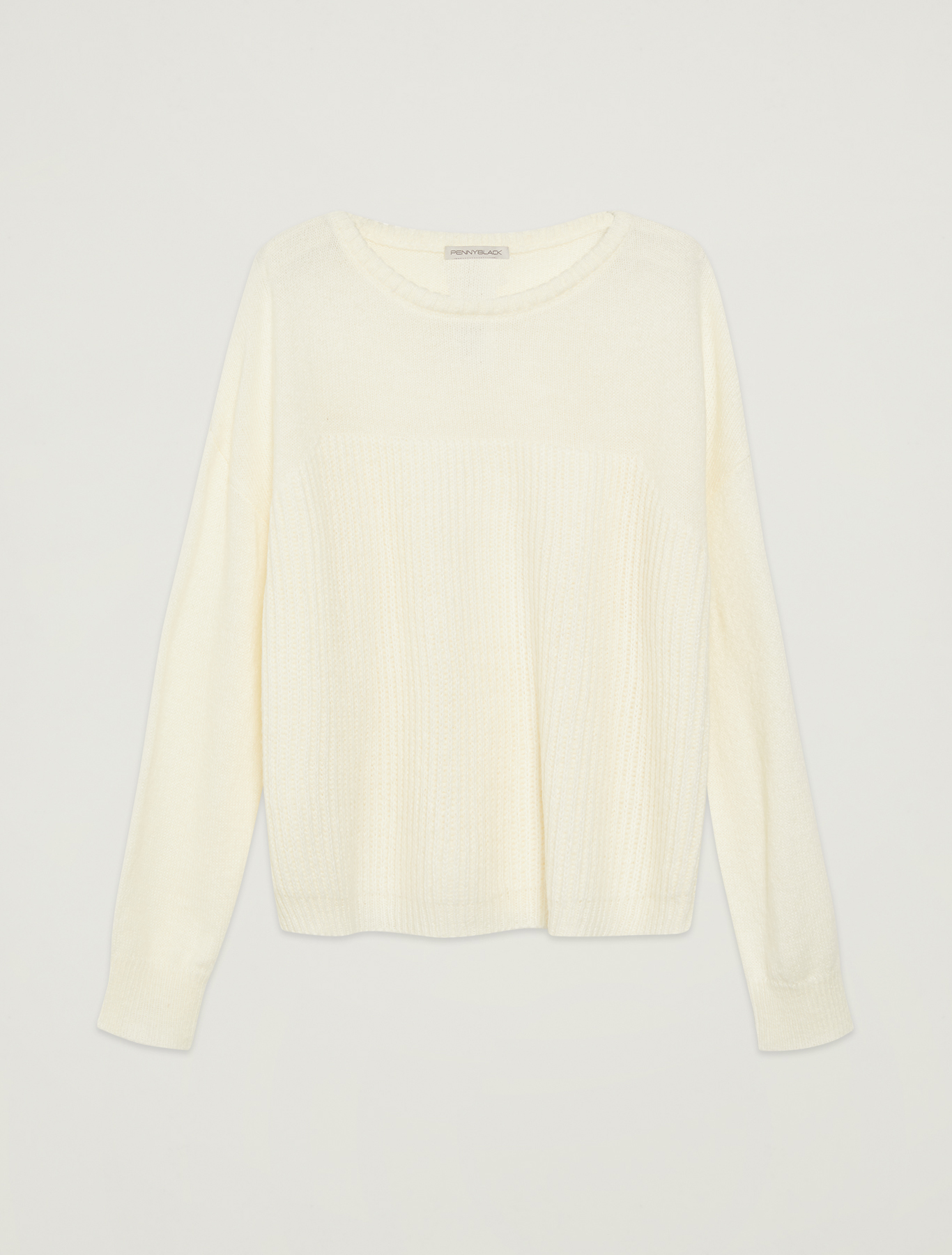 English rib knit jumper - white - pennyblack