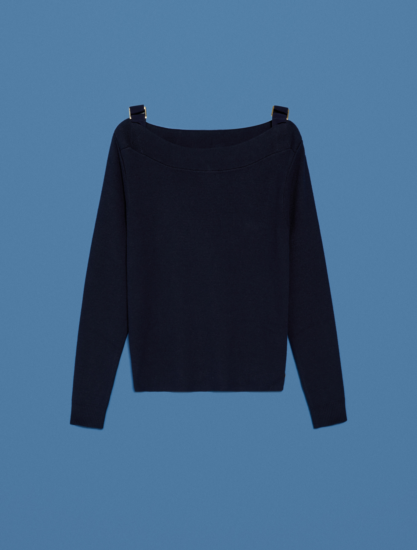 Jumper with ribbons and buckles - navy blue - pennyblack
