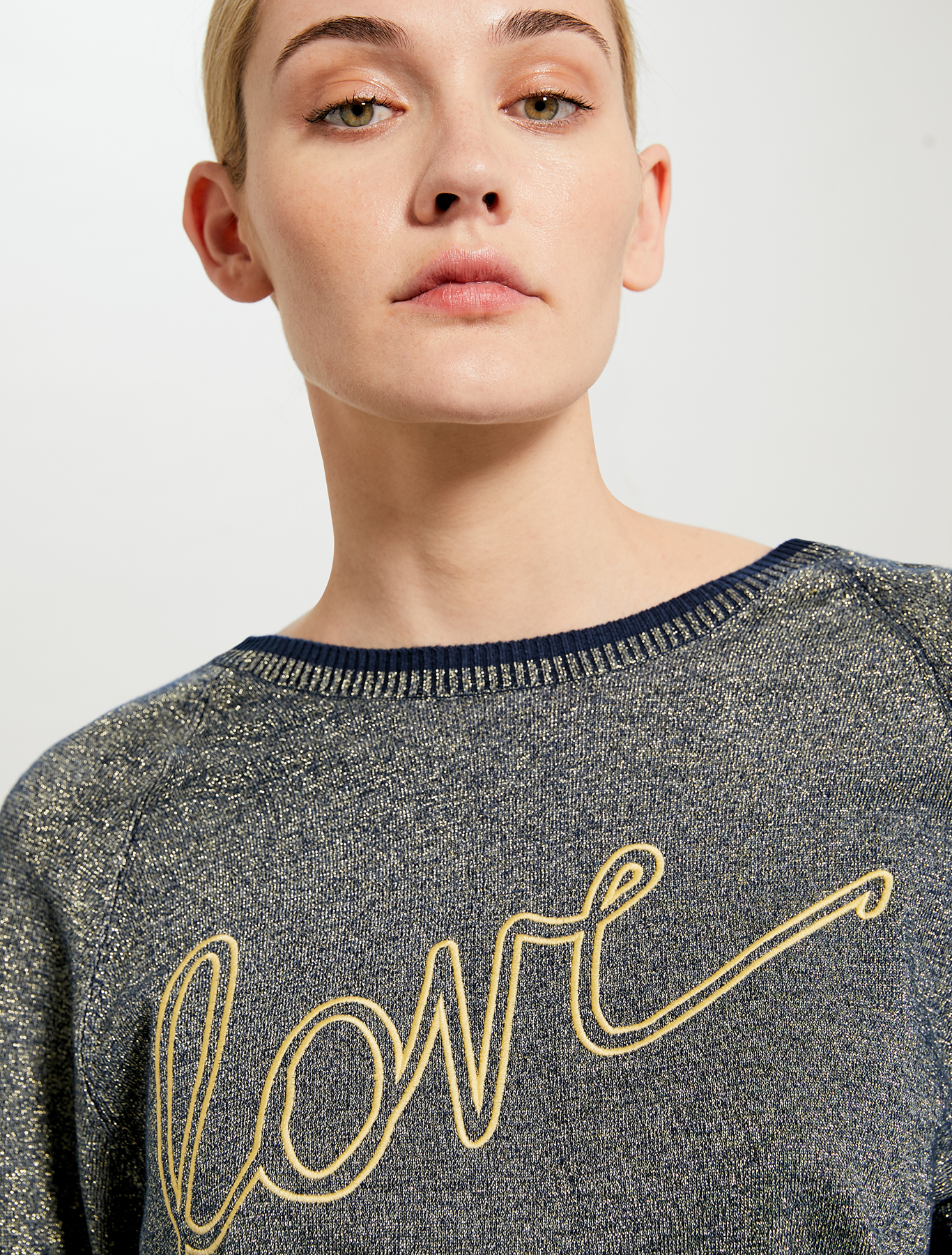 Lamé jumper with 'love' embroidery - navy blue - pennyblack