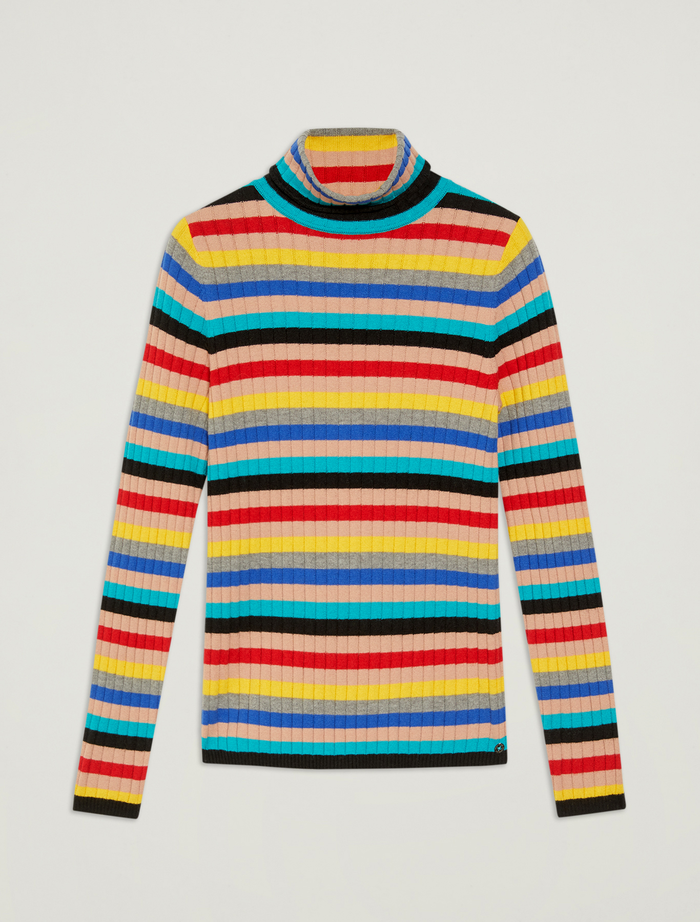 Striped multicolour turtleneck - multi coloured - pennyblack
