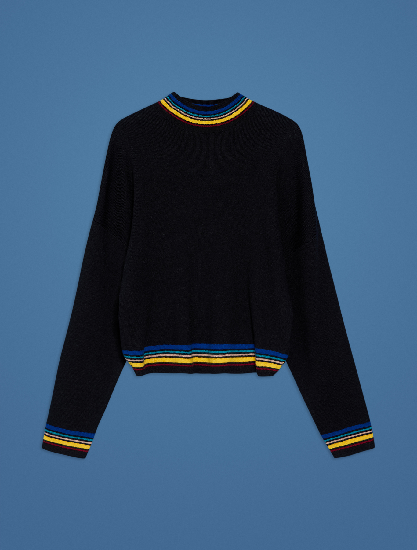 Jumper with multicolour trim - black pattern - pennyblack