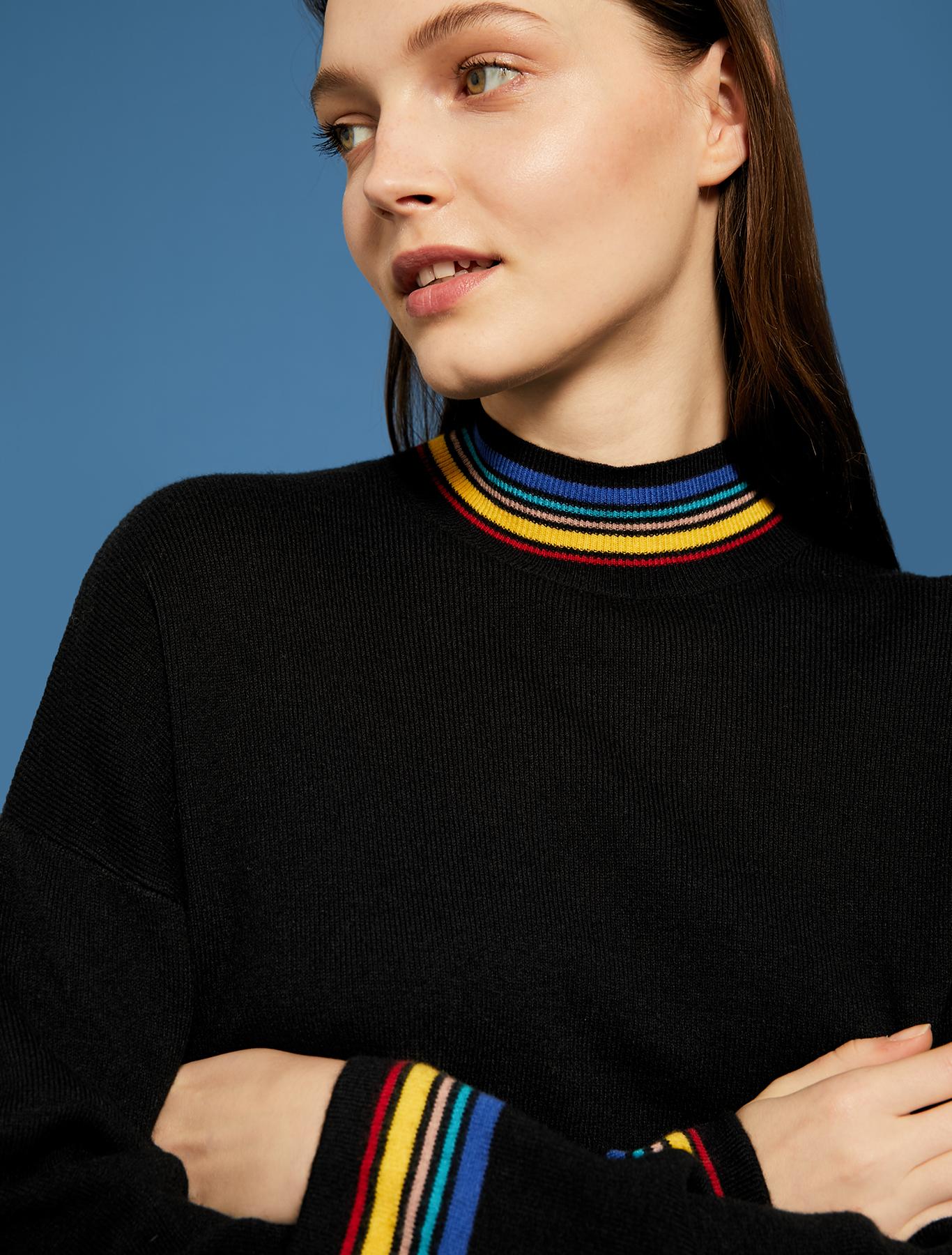Jumper with multicolour trim - black pattern - pennyblack
