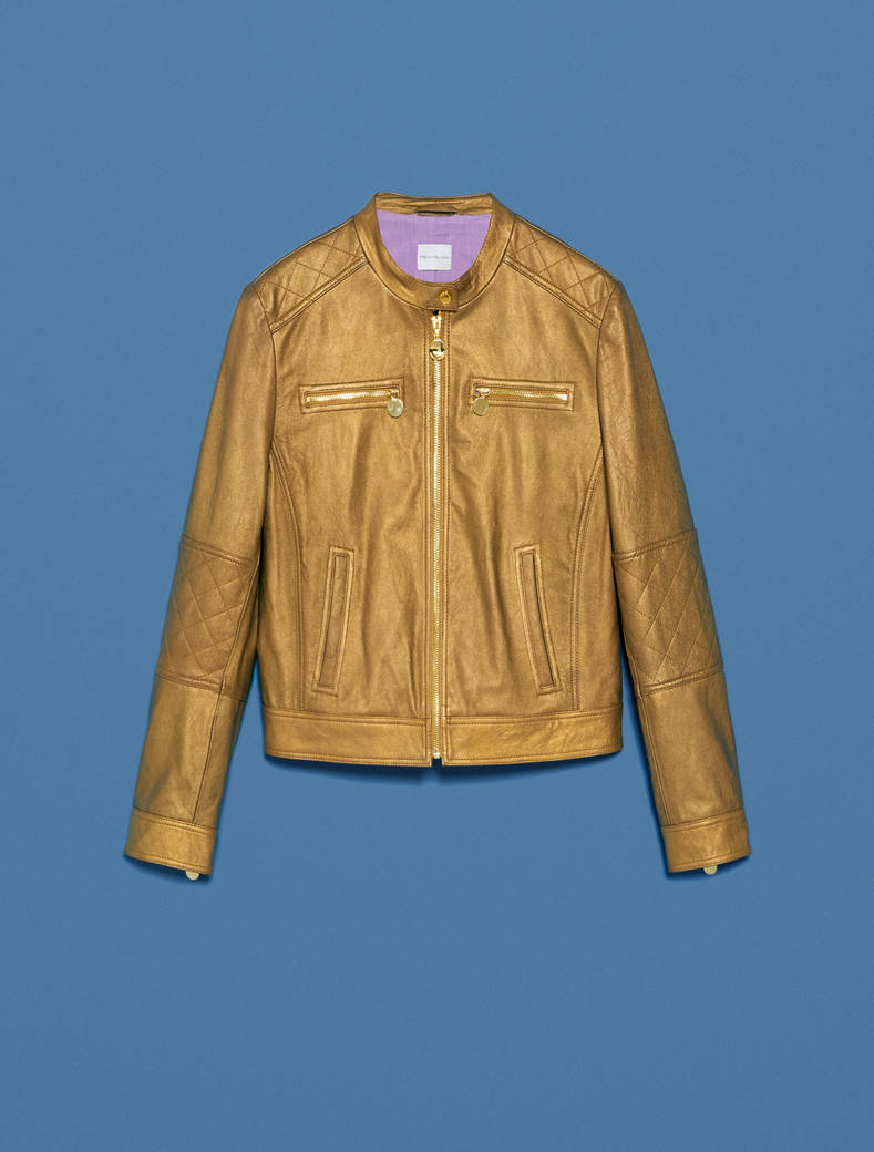 Patent leather biker jacket - gold - pennyblack