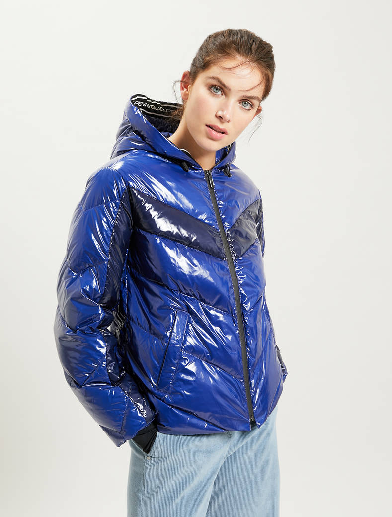 Glossy puffer jacket with inlay - midnight blue - pennyblack