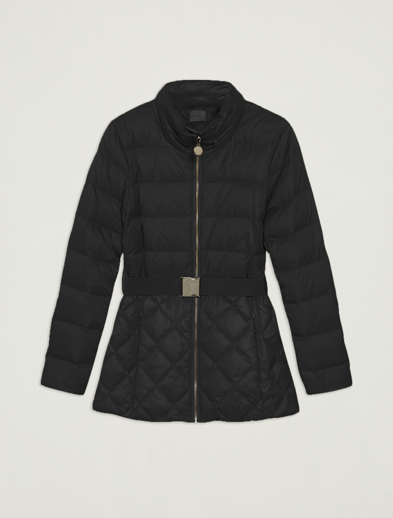 Slim fit matt-glossy down jacket - black - pennyblack
