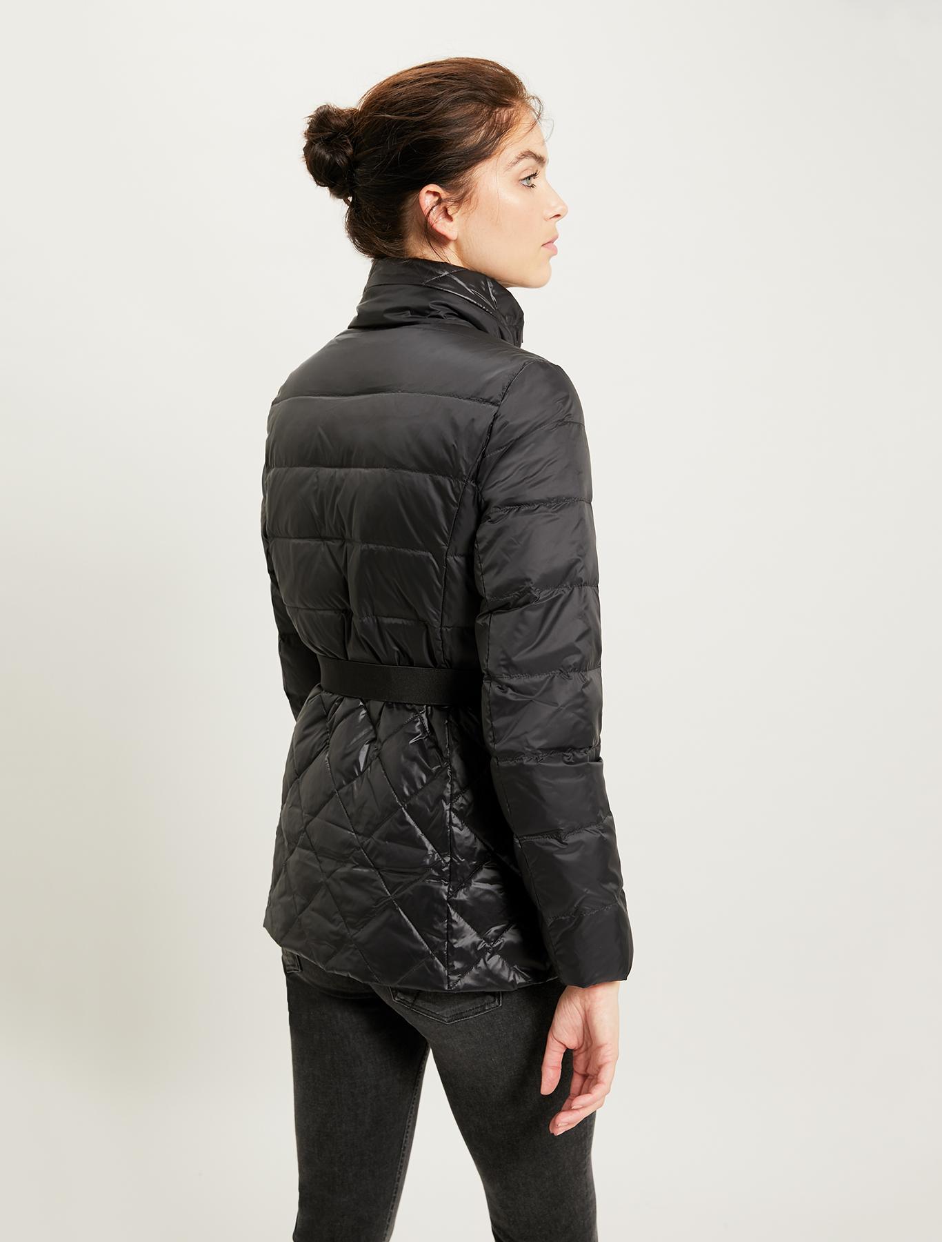 Slim fit matt-glossy down jacket - black - pennyblack