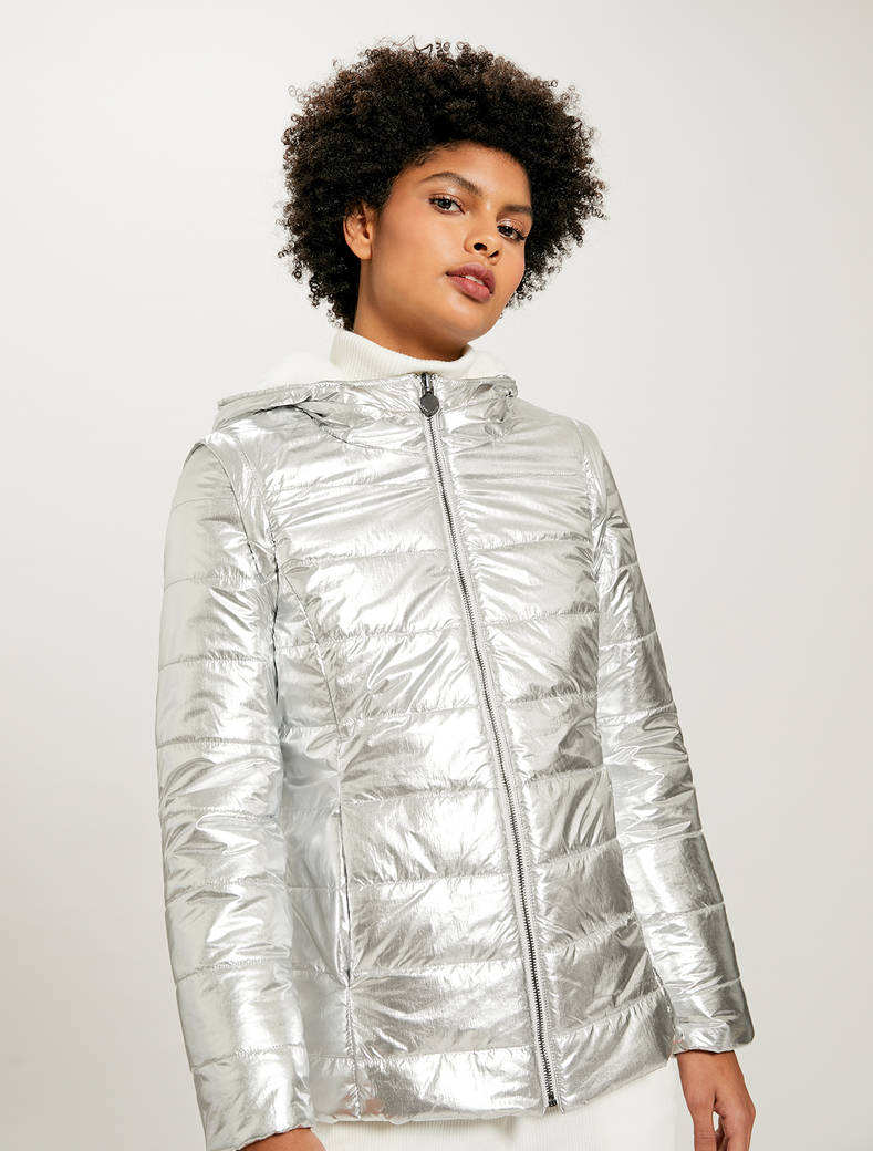 Reversible laminated jacket - ivory - pennyblack
