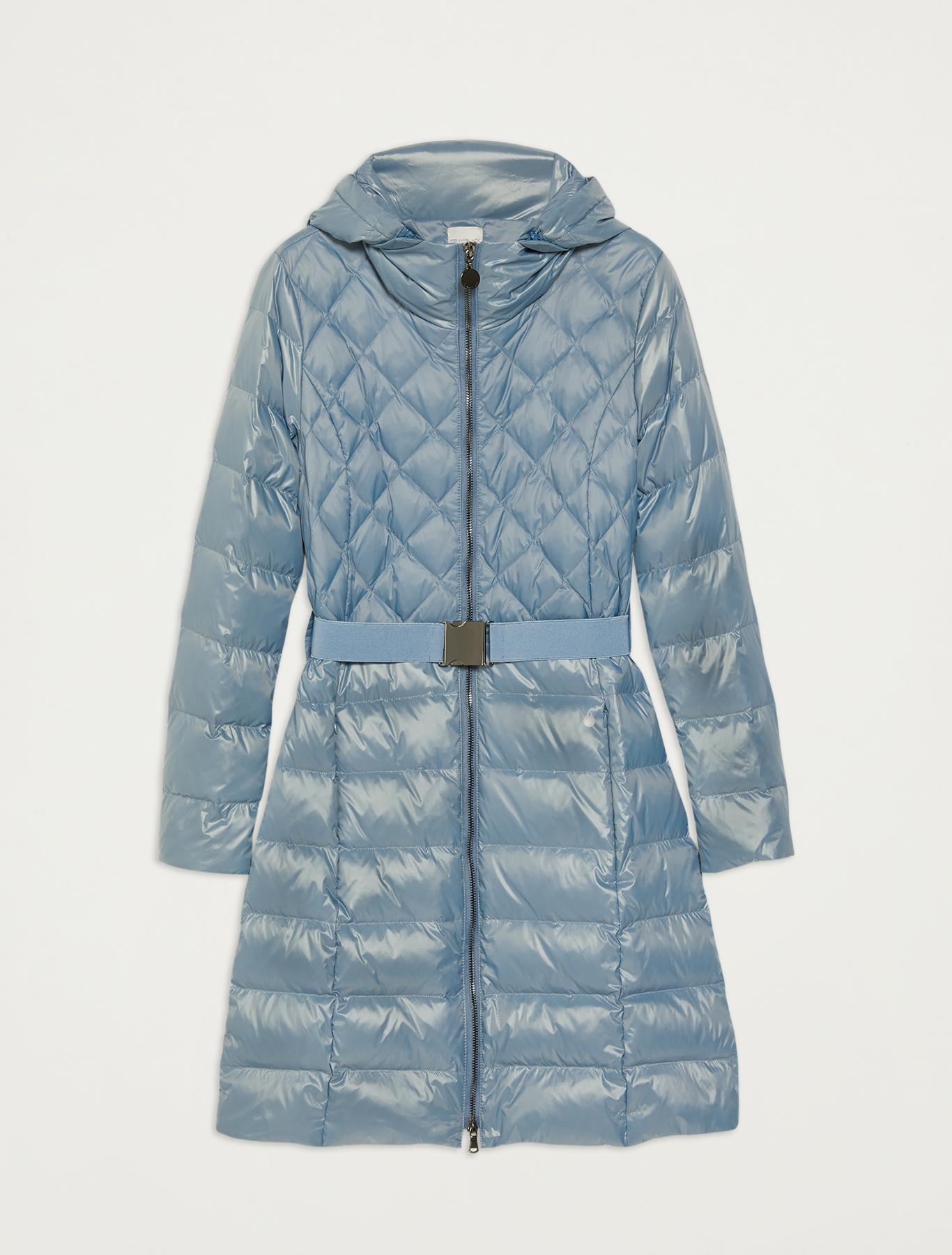Matt-glossy belted down jacket - light blue - pennyblack