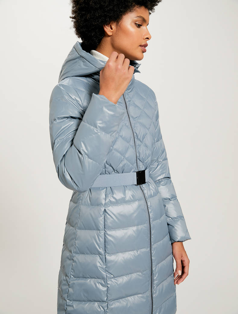 Matt-glossy belted down jacket - light blue - pennyblack