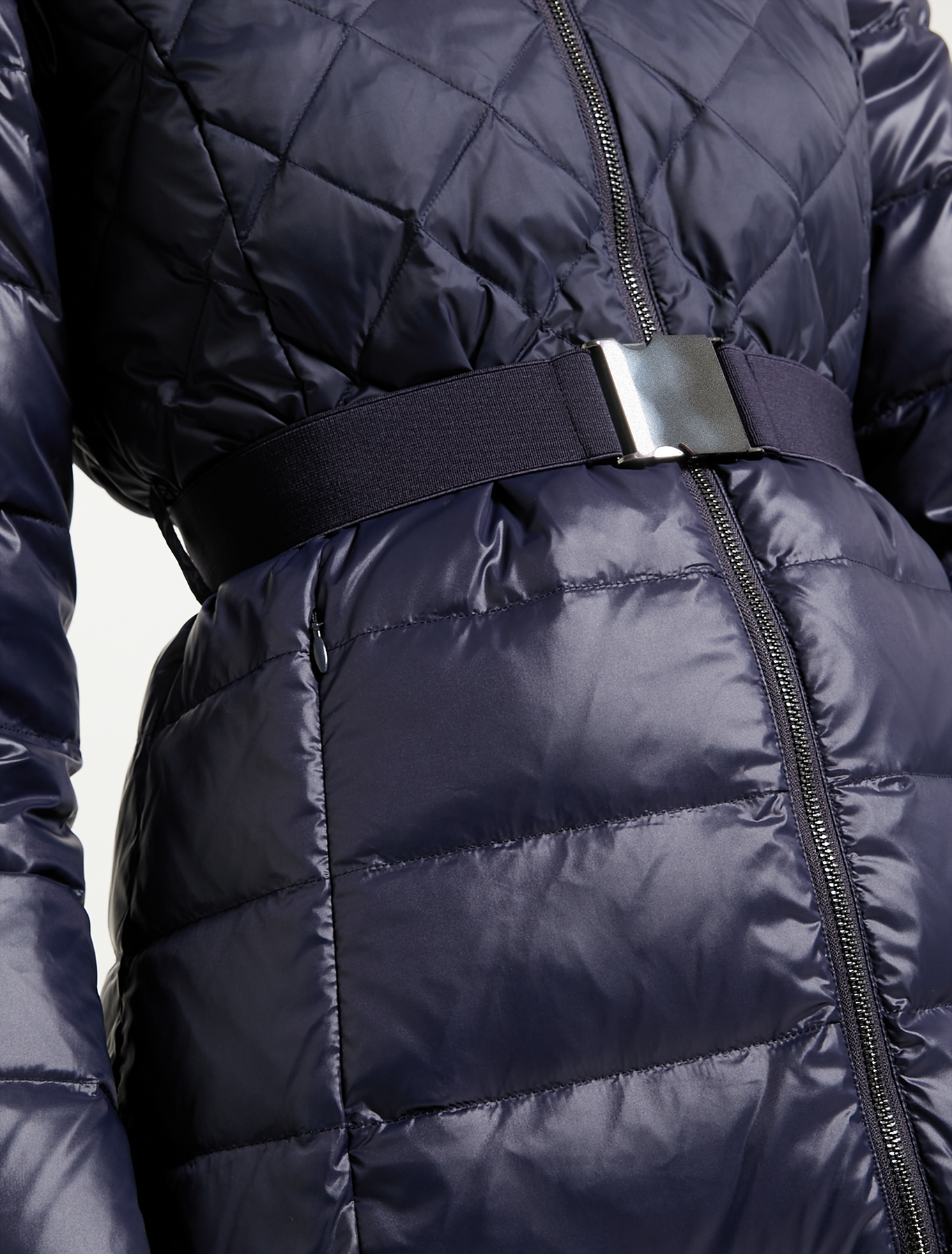 Matt-glossy belted down jacket - navy blue - pennyblack