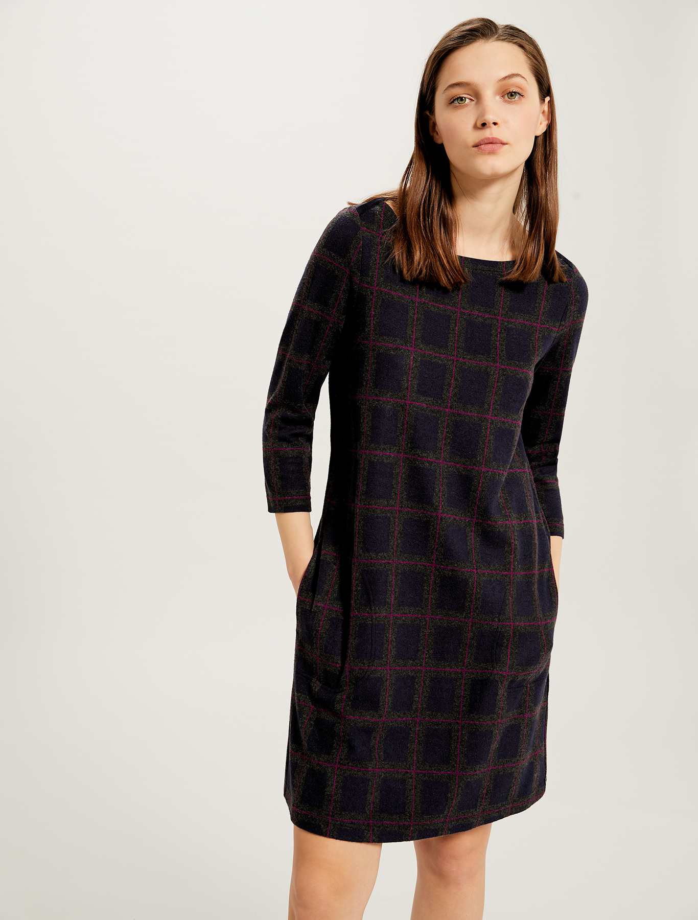 Jacquard jersey dress - navy blue pattern - pennyblack