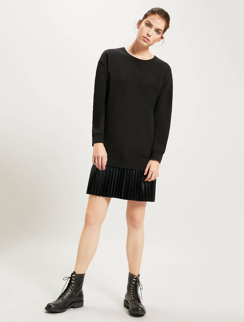 Sweatshirt dress with pleated flounce - black pattern - pennyblack