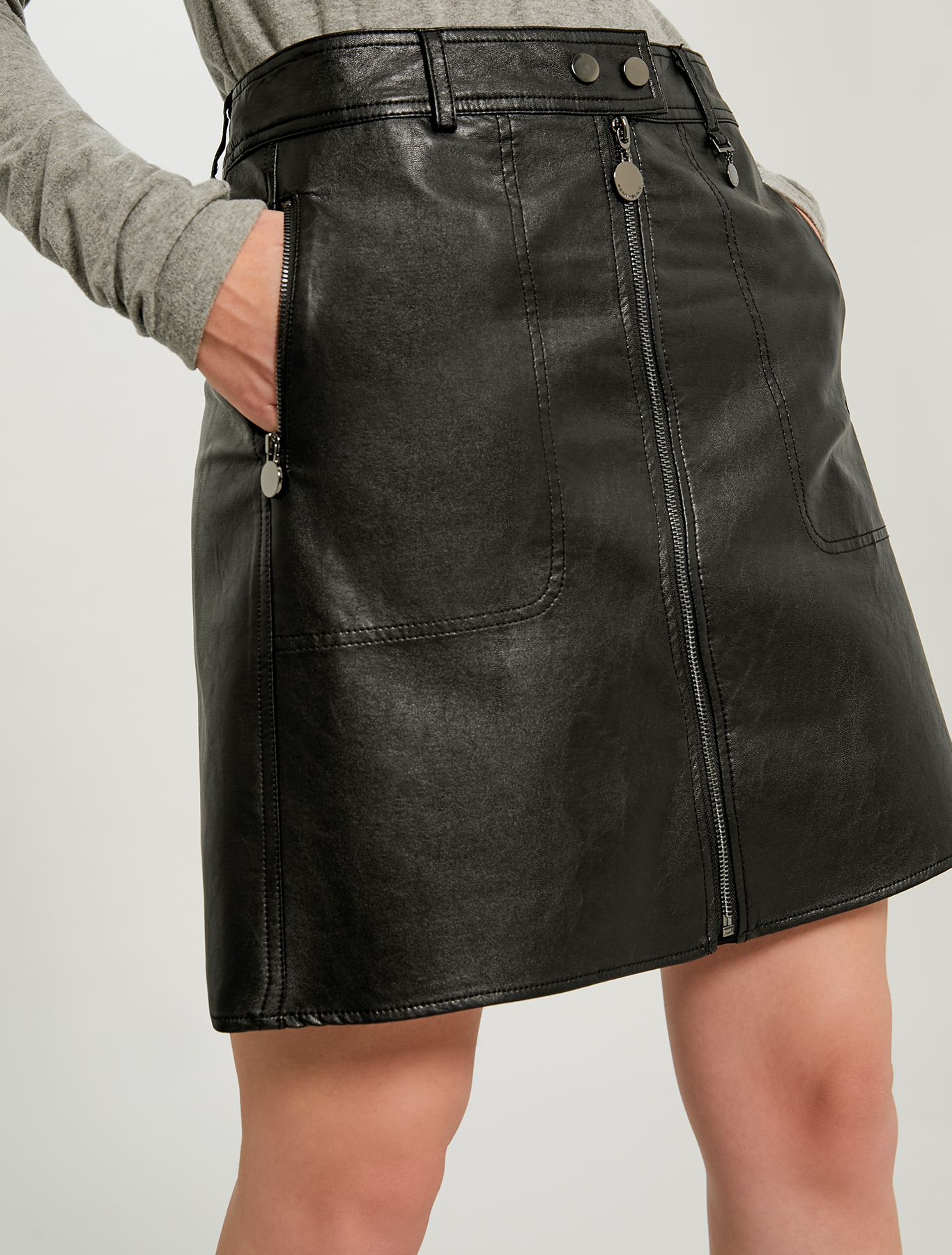 A-line coated jersey skirt - black - pennyblack