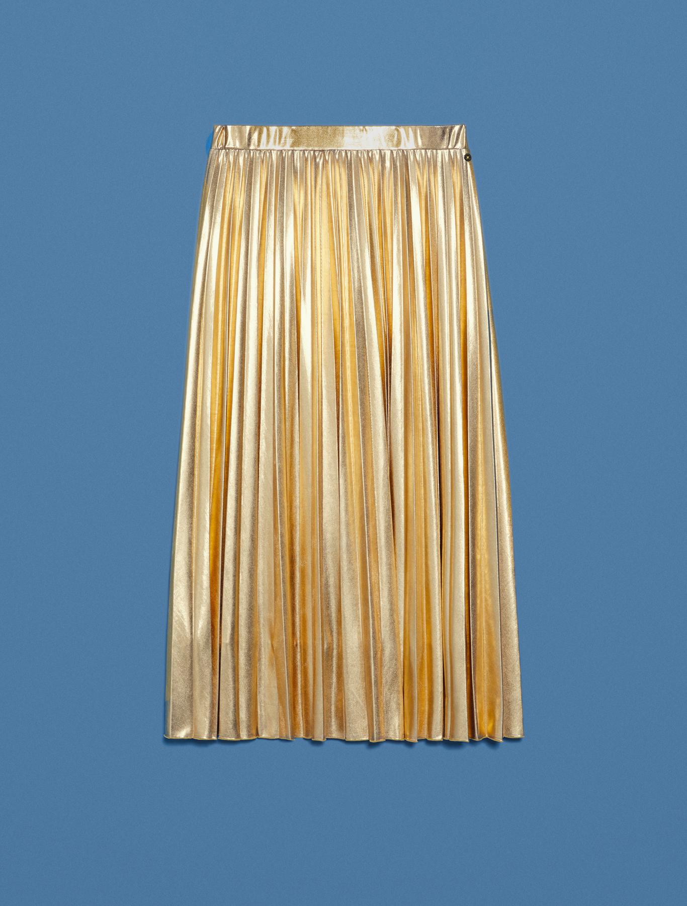 Laminated pleated midi skirt - gold - pennyblack