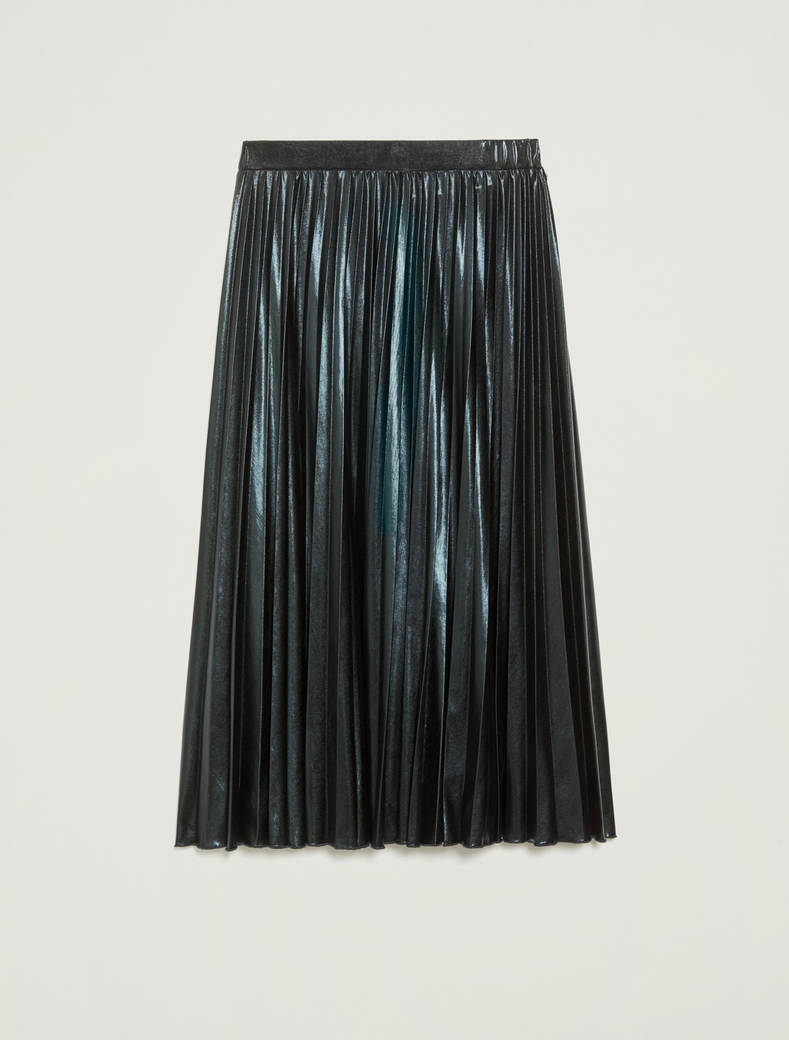 Laminated pleated midi skirt - cornflower blue - pennyblack