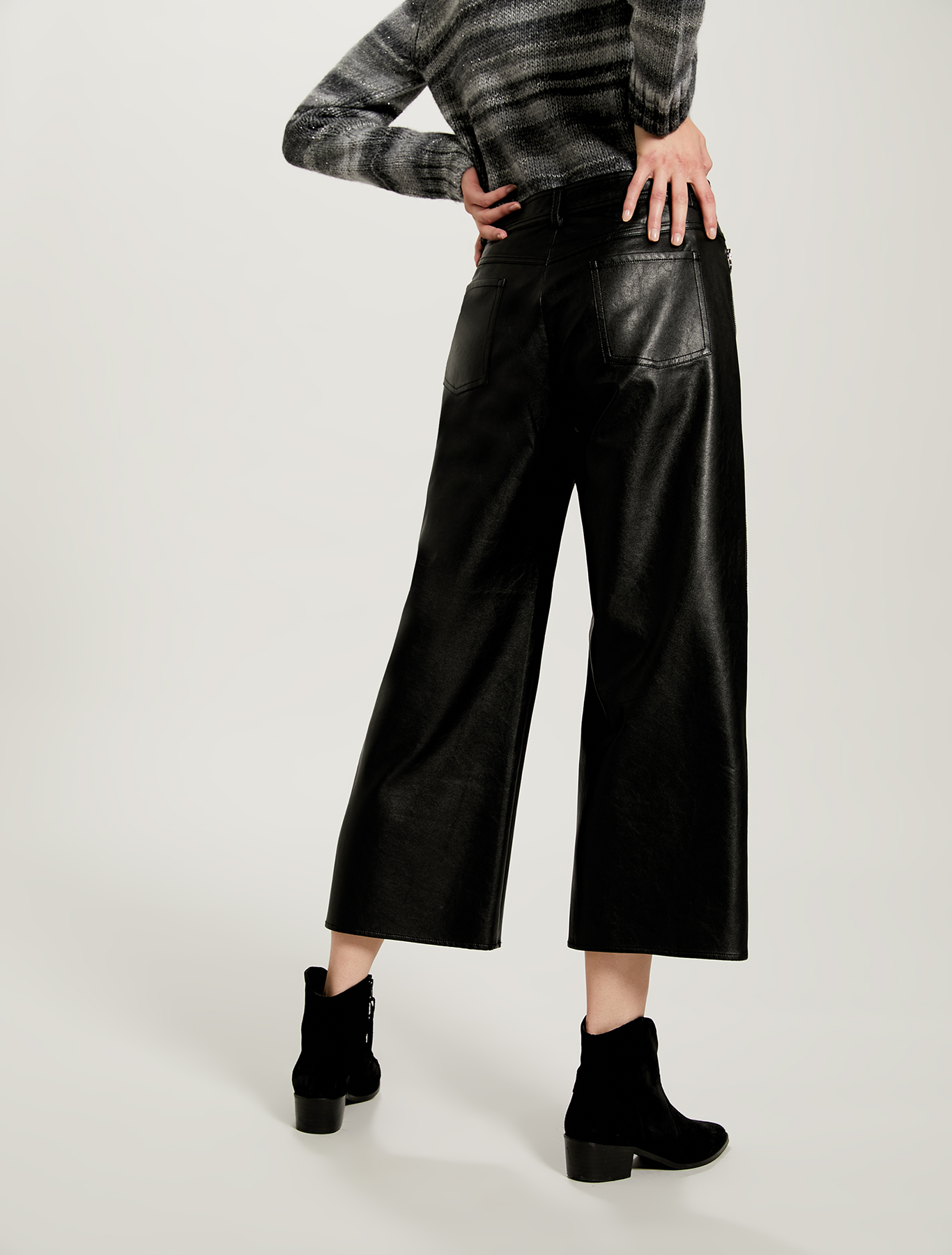 Coated jersey trousers - black - pennyblack