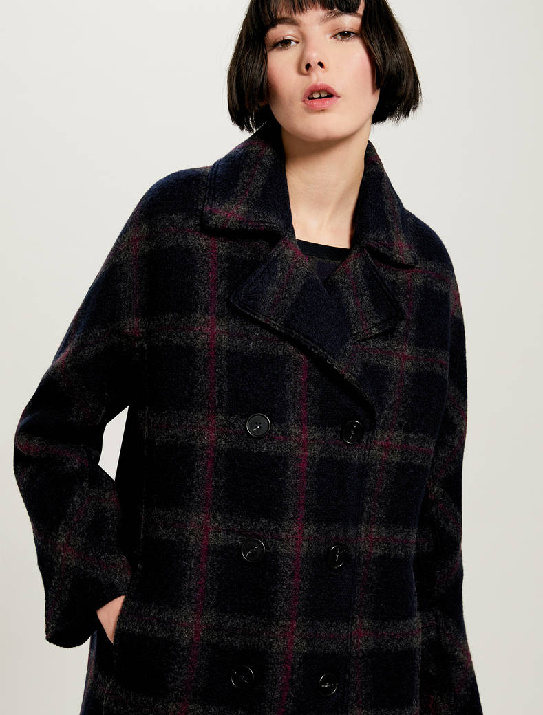 Checked coat - navy blue pattern - pennyblack