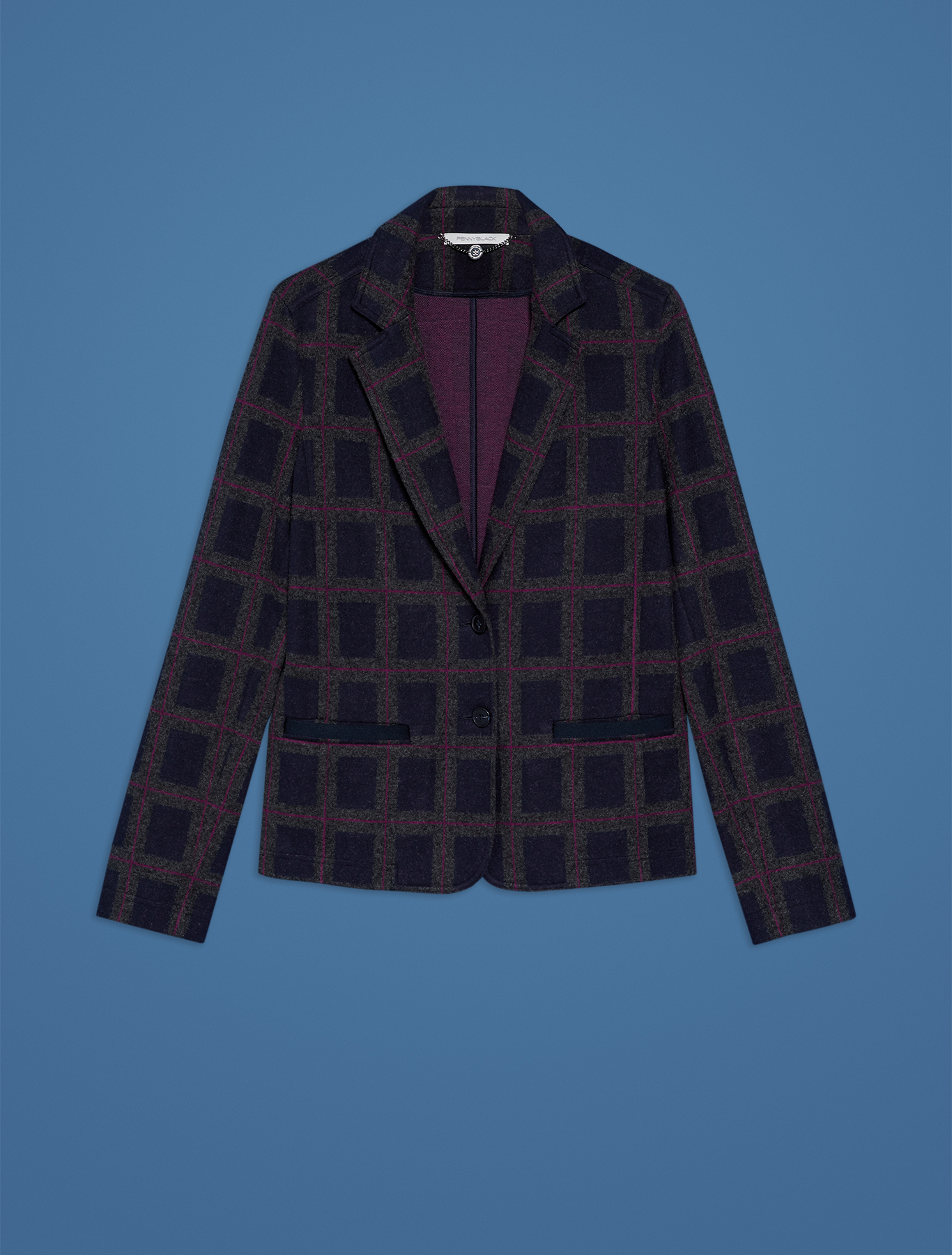 Slim fit blazer in jacquard jersey - navy blue pattern - pennyblack