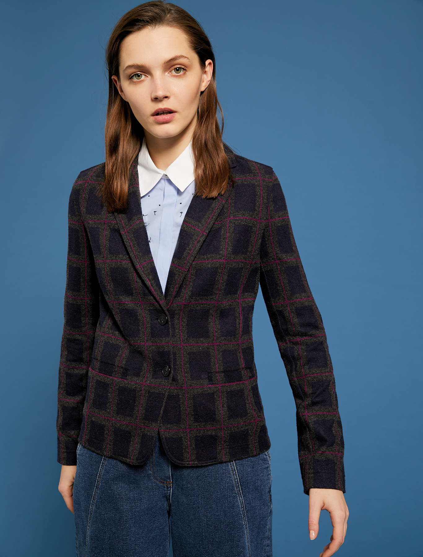 Slim fit blazer in jacquard jersey - navy blue pattern - pennyblack