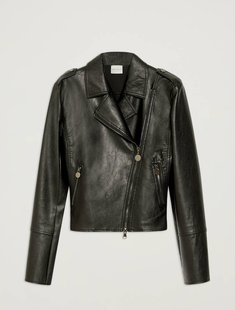 Biker jacket in coated jersey - black - pennyblack